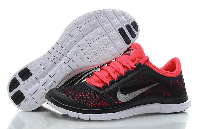 Womens Nike Free 3.0 V5 Black Red Running Shoes
