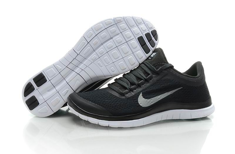 Womens Nike Free 3.0 V5 Black Silver Running Shoes