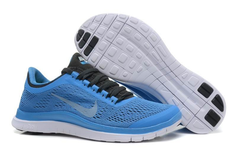 Womens Nike Free 3.0 V5 Blue White Dark Grey Running Shoes
