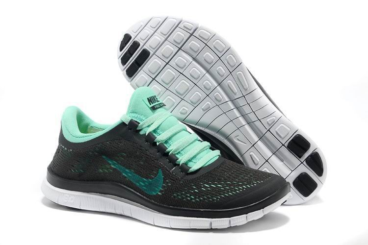 Womens Nike Free 3.0 V5 Dark Charcoal Green White Running Shoes