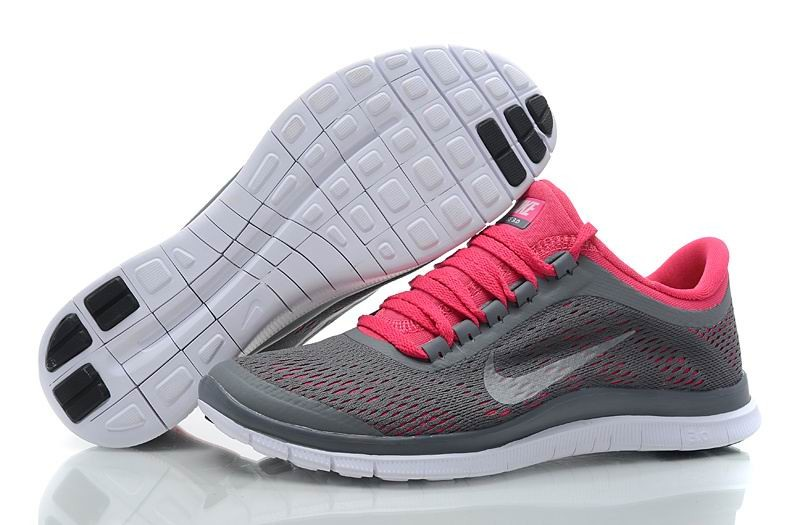 Womens Nike Free 3.0 V5 Dark Grey White Pink Running Shoes
