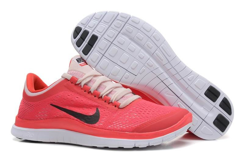 Womens Nike Free 3.0 V5 Red Black Pink Running Shoes