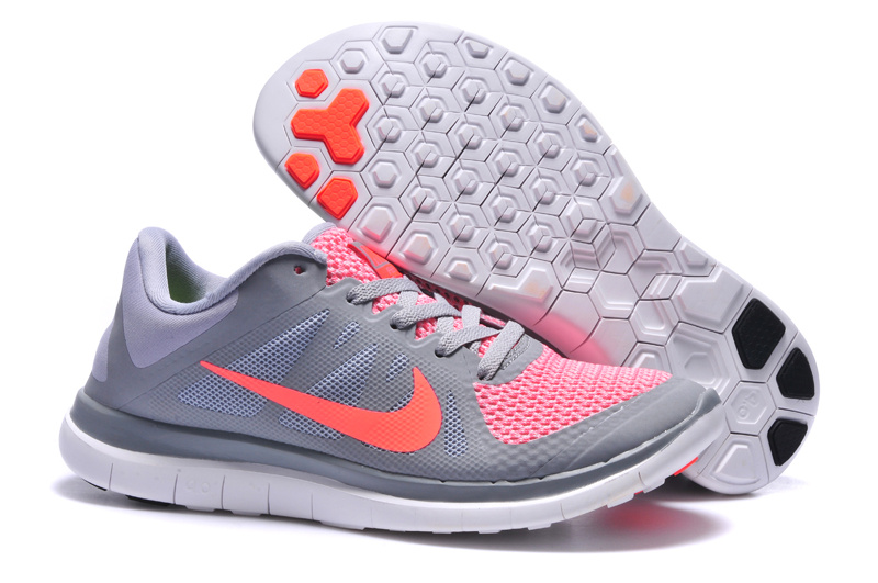 Womens Nike Free 4.0 V4 Grey Pink Running Shoes
