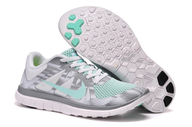 Womens Nike Free 4.0 V4 White Grey Green Running Shoes