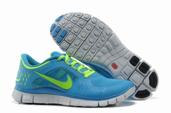 Womens Nike Free 5.0 V3 Baby Blue Fluorescence Green Running Shoes