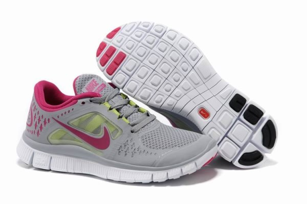 Womens Nike Free 5.0 V3 Grey Peach Red Running Shoes