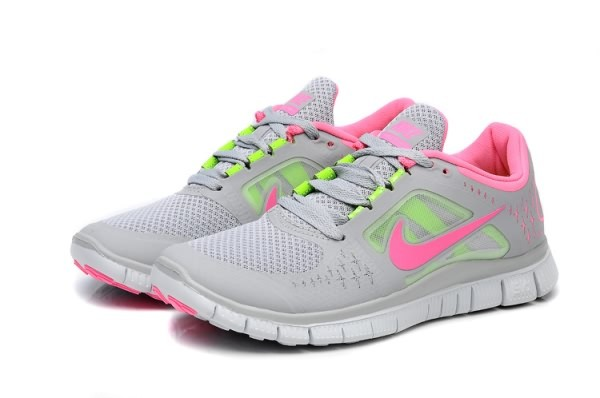 Womens Nike Free 5.0 V3 Grey Pink Green Running Shoes
