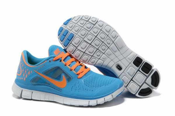 Womens Nike Free 5.0 V3 Sky Blue Orange Running Shoes