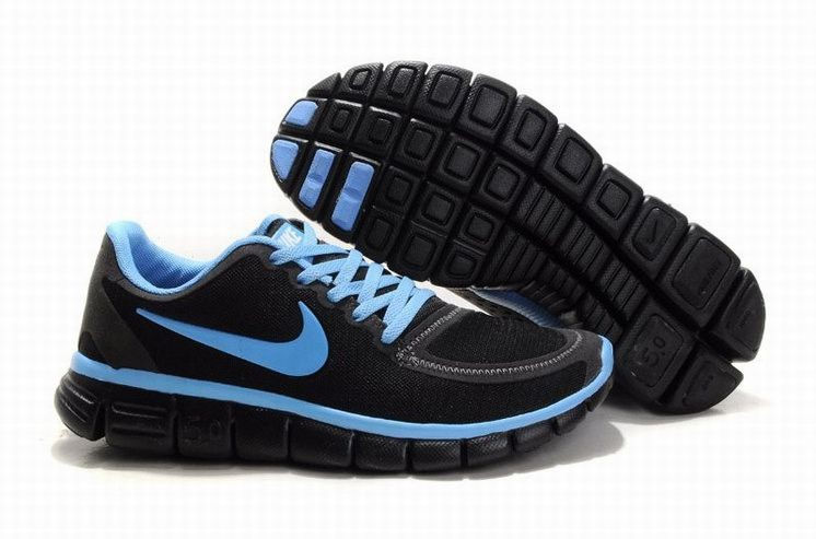 Womens Nike Free 5.0 V4 Black Blue Running Shoes