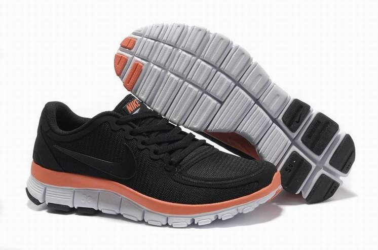 Womens Nike Free 5.0 V4 Black Orange White Running Shoes
