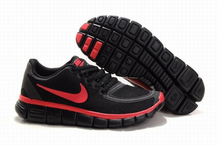 Womens Nike Free 5.0 V4 Black Red Running Shoes