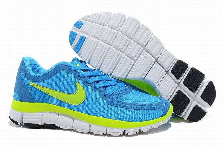 Womens Nike Free 5.0 V4 Blue Green Running Shoes