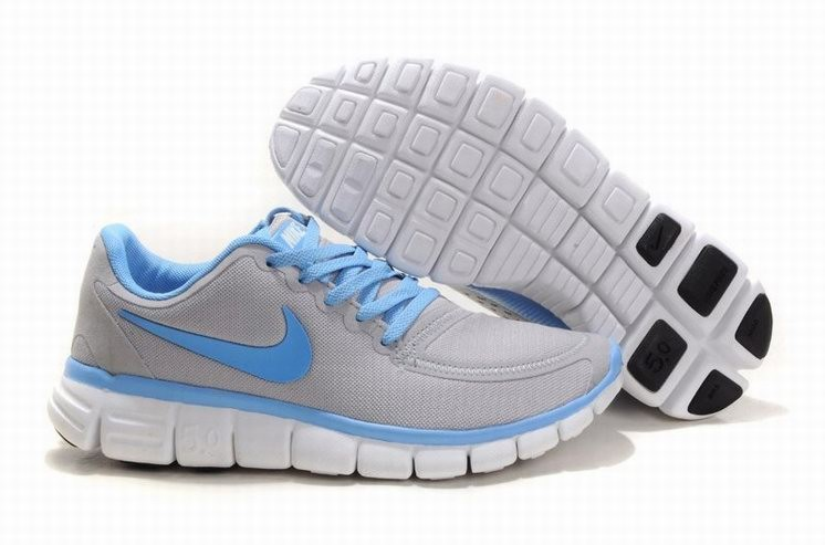 Womens Nike Free 5.0 V4 Grey Blue Running Shoes