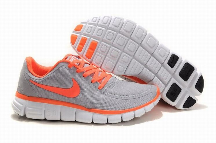Womens Nike Free 5.0 V4 Grey Orange Running Shoes