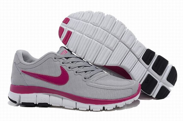 Womens Nike Free 5.0 V4 Grey Pink Running Shoes