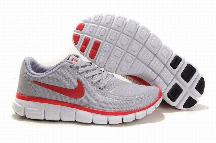 Womens Nike Free 5.0 V4 Grey Red Running Shoes