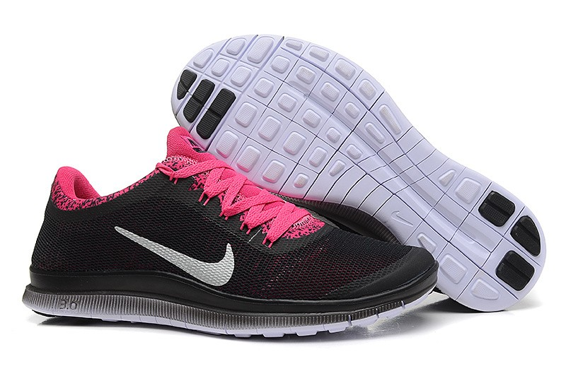 Womens Nike Free Run 3.0 V6 Black Pink Running Shoes