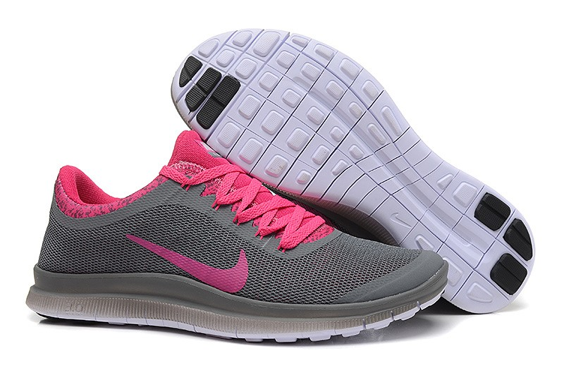 Womens Nike Free Run 3.0 V6 Charcoal Grey Pink Running Shoes