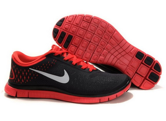 Womens Nike Free Run 4.0 V2 Black Red Running Shoes
