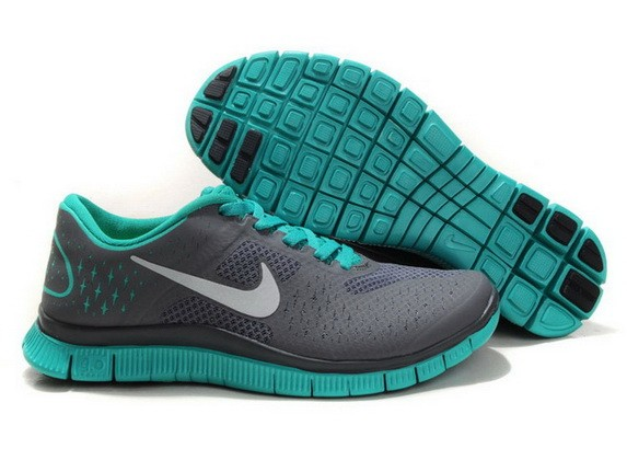 Womens Nike Free Run 4.0 V2 Carbon Grey Green Running Shoes