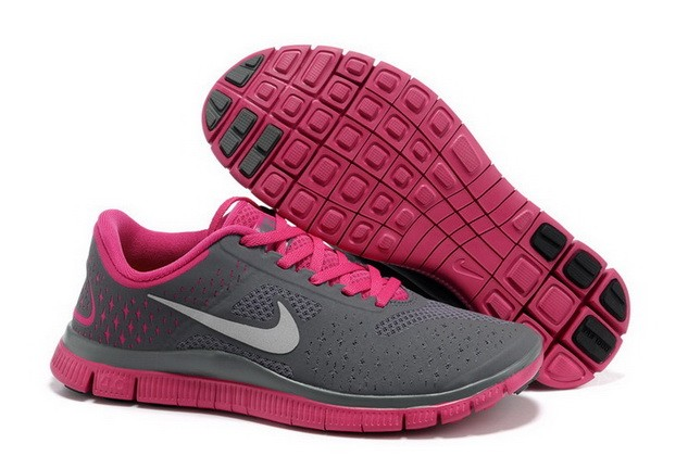 Womens Nike Free Run 4.0 V2 Dark Grey Pink Running Shoes