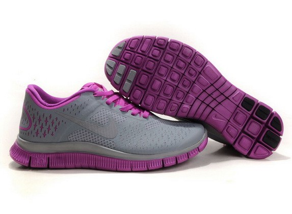 Womens Nike Free Run 4.0 V2 Grey Purple Running Shoes