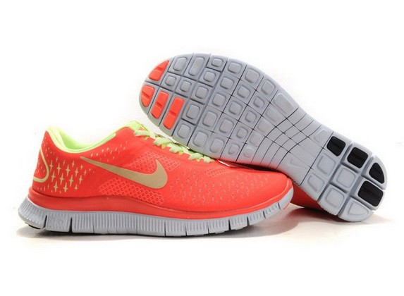 Womens Nike Free Run 4.0 V2 Neon Orange Pink Running Shoes