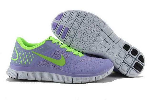 Womens Nike Free Run 4.0 V2 Purple Fluorescent Green Running Shoes