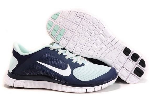 Womens Nike Free Run 4.0 V3 Jade Darkblue Running Shoes