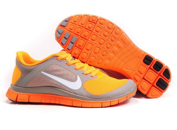Womens Nike Free Run 4.0 V3 Orange Grey Running Shoes