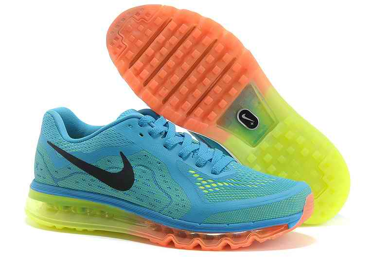 Discount Nike Air Max 2015 Man Running Shoes - Sky Blue Fluorescent Green BU567042
