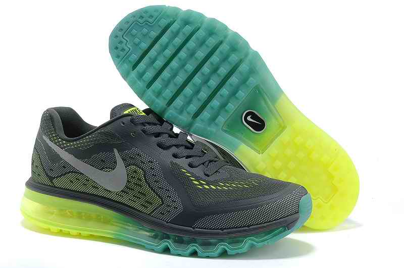 Discount Nike Air Max 2015 Men Running Shoes - Deep Gray Fluorescent Green SJ187065