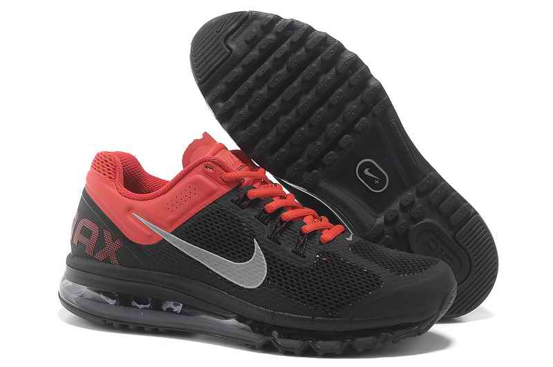 Discount Nike Air Max 2015 Mesh Cloth Man's Sports Shoes - Black Red RE201546