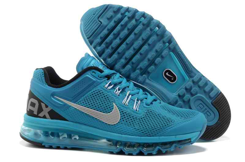 Discount Nike Air Max 2015 Mesh Cloth Man's Sports Shoes - Peacock Blue Silver KB490751