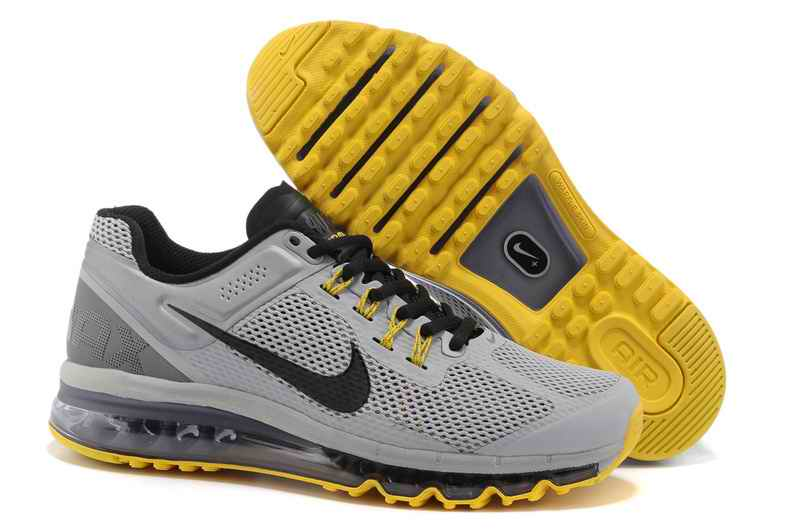 Discount Nike Air Max 2015 Mesh Cloth Man's Sports Shoes - Silver Gray Yellow GD912607