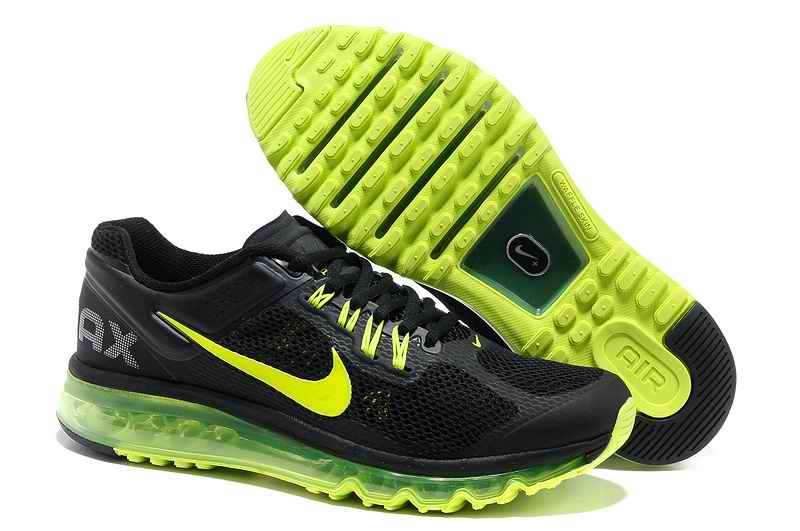 Discount Nike Air Max 2015 Mesh Cloth Men Running Shoes - Black Fluorescent Green KN237408