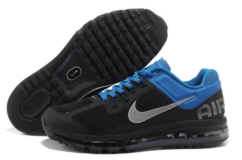 Discount Nike Air Max 2015 Mesh Cloth Men Sports Shoes - Black Blue YM074962