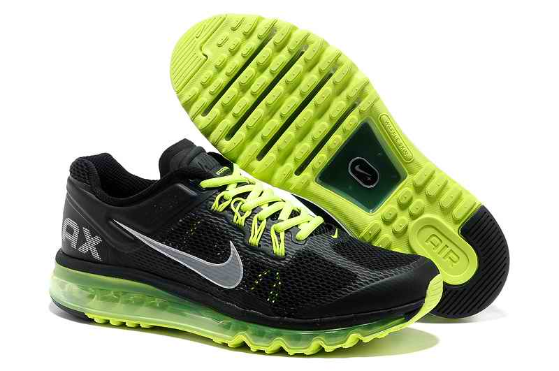 Discount Nike Air Max 2015 Mesh Cloth Men Sports Shoes - Black Green ZY562108