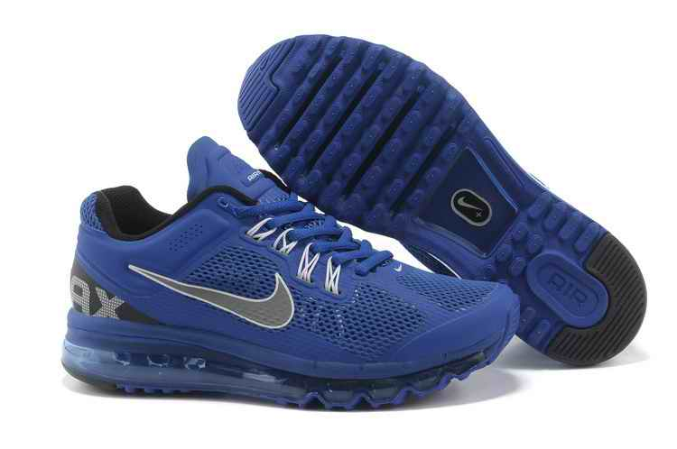 Discount Nike Air Max 2015 Mesh Cloth Men Sports Shoes - Blue Silver JD709621