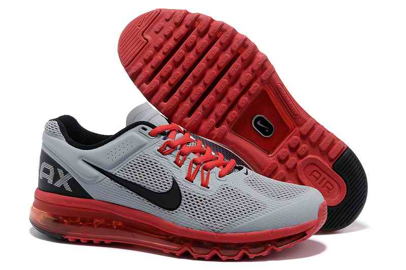 Discount Nike Air Max 2015 Mesh Cloth Men Sports Shoes - Gray Red QE183062