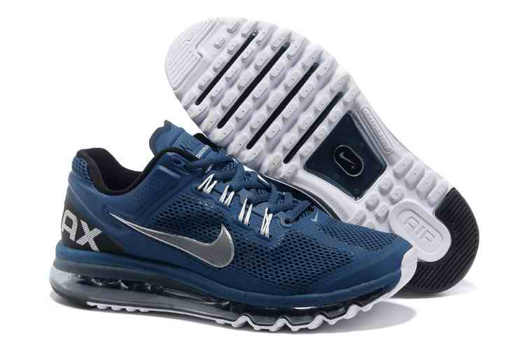 Discount Nike Air Max 2015 Mesh Cloth Men's Sports Shoes - Army Blue EH579624