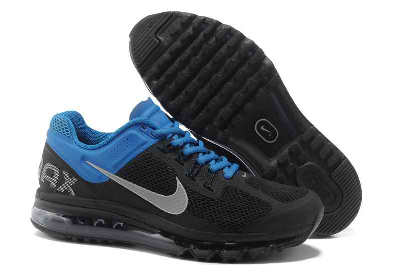 Discount Nike Air Max 2015 Mesh Cloth Men's Sports Shoes - Black Blue UL180546