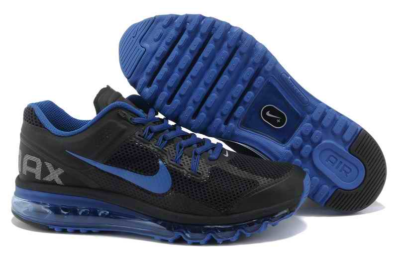 Discount Nike Air Max 2015 Mesh Cloth Men's Sports Shoes - Black Blue WQ079125
