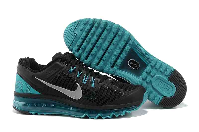Discount Nike Air Max 2015 Mesh Cloth Men\'s Sports Shoes - Black Blue XF280936