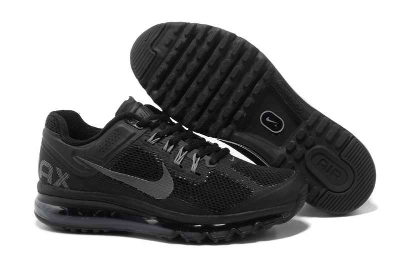 Discount Nike Air Max 2015 Mesh Cloth Men\'s Sports Shoes - Black Gray RY821506