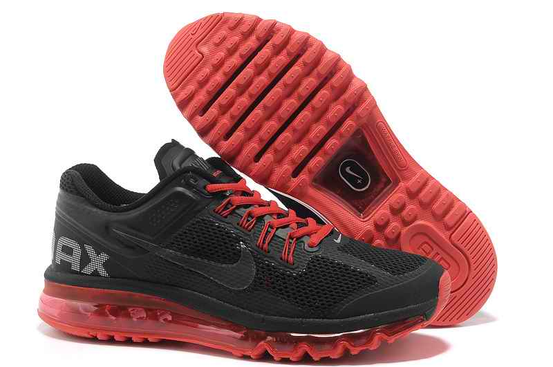 Discount Nike Air Max 2015 Mesh Cloth Men's Sports Shoes - Black Red DM078592