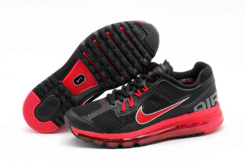 Discount Nike Air Max 2015 Mesh Cloth Men\'s Sports Shoes - Black Red QJ312890