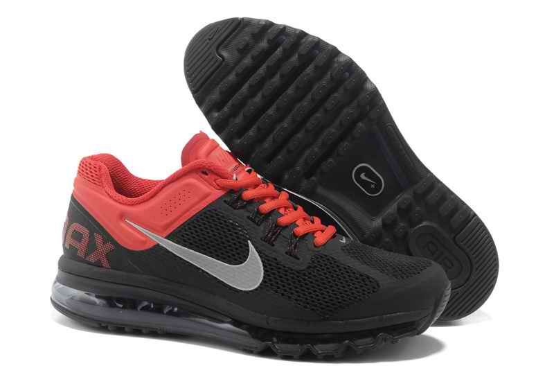 Discount Nike Air Max 2015 Mesh Cloth Mens Sports Shoes - Black Red Silver NS394608