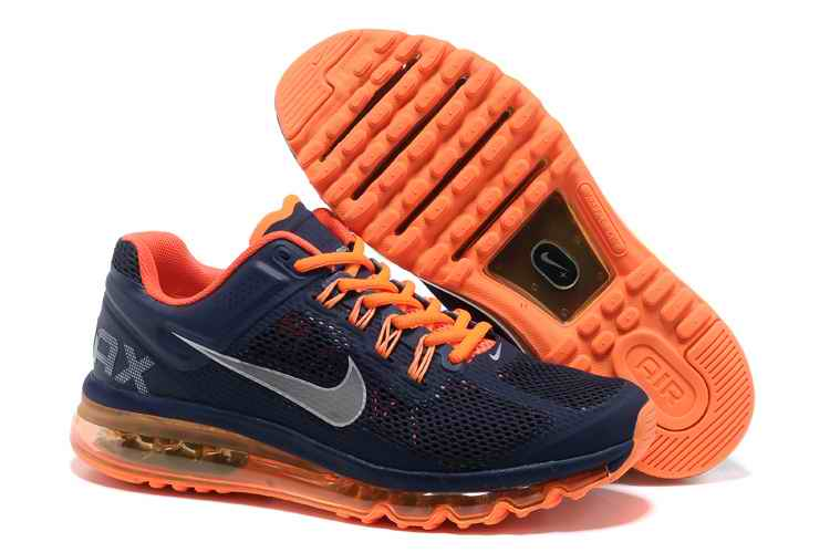 Discount Nike Air Max 2015 Mesh Cloth Mens Sports Shoes - Blue Orange PF605319