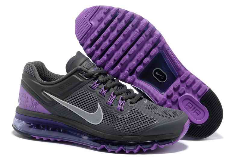 Discount Nike Air Max 2015 Mesh Cloth Mens Sports Shoes - Charcoal Grey Purple VK182563
